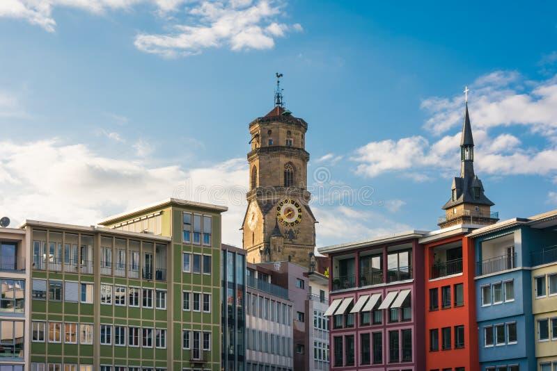 De Markt Duitse Stad Prettig Sunny Day Blu van Stuttgart Rathaus royalty-vrije stock foto's