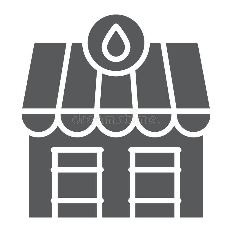 De markt glyph pictogram, brandstof en architectuur van de oliepost, de oliemarktbouw teken, vectorafbeeldingen, een stevig patro vector illustratie