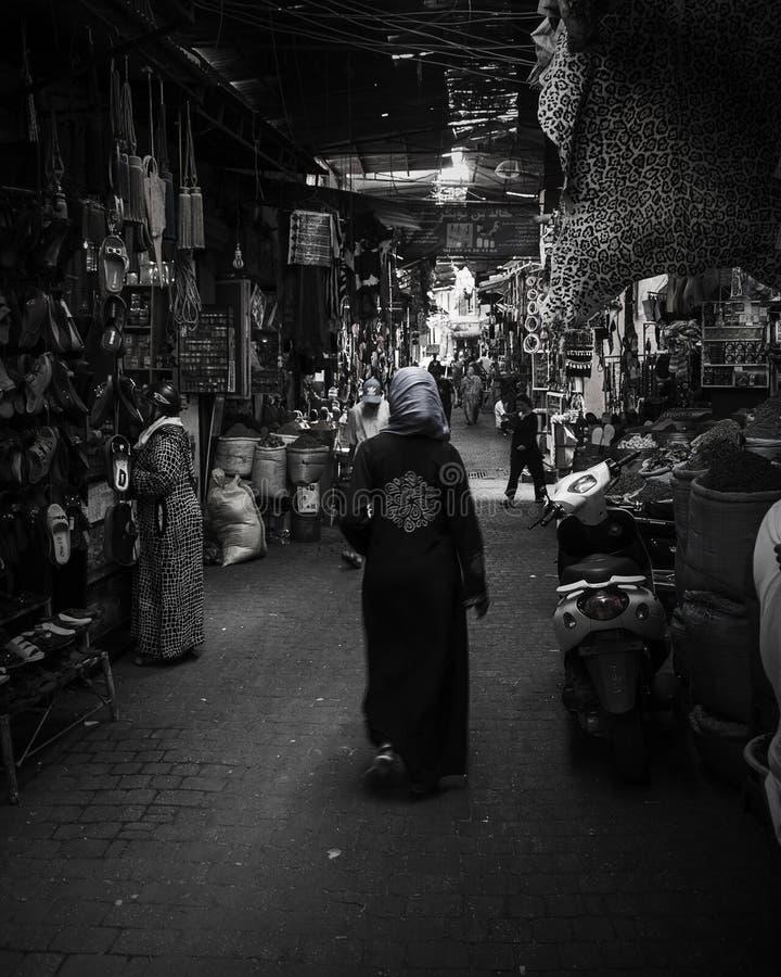 De Markt Jemaa Al Fna Black van Marrakech en Wit stock afbeelding
