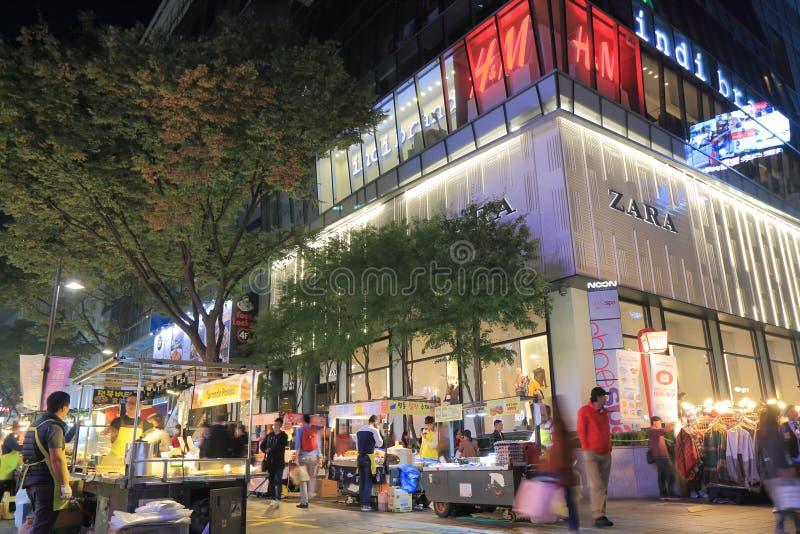 De markt Seoel Zuid-Korea van de nachtstraat stock afbeeldingen