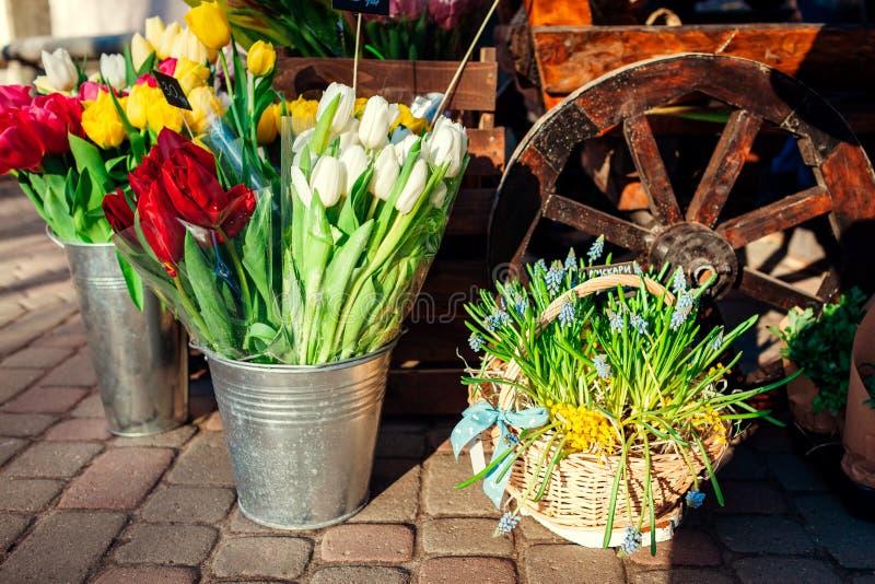 De markt van de bloem De lentebloemen in dozen en emmers klaar voor verkoop Tulpen in emmer Aanwezige moeder` s dag stock afbeelding