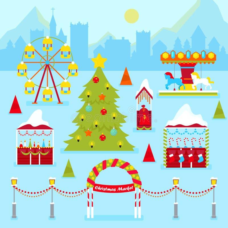 De Markt van de Kerstmismarkt met Kiosken, de Kerstboom en de Carrousel van de de Wintervakantie de Traditionele stock illustratie