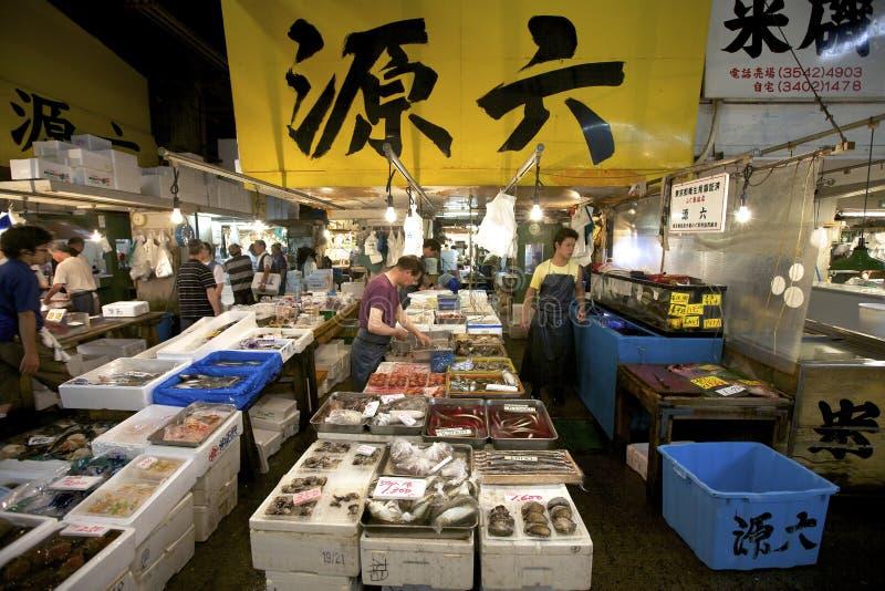 De Markt van de Vissen van de Zeevruchten van Tsukiji van Tokyo royalty-vrije stock foto