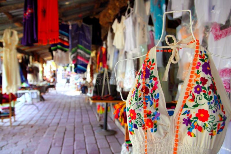 De markt van Handcrafts in Mexico Puerto Morelos stock fotografie