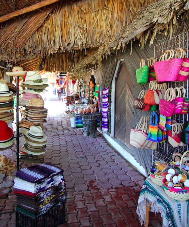De markt van Handcrafts in Mexico Puerto Morelos royalty-vrije stock foto