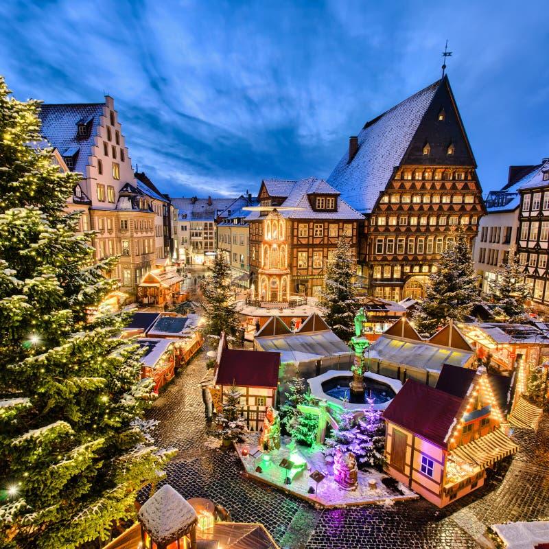 De Markt van Kerstmis in Hildesheim, Duitsland royalty-vrije stock afbeelding