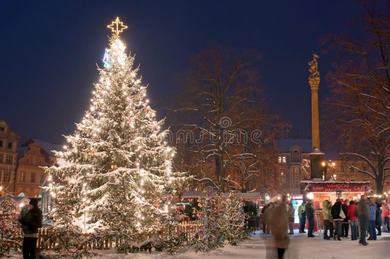 De Markt van Kerstmis in Litomerice, Tsjechische Republiek stock afbeelding