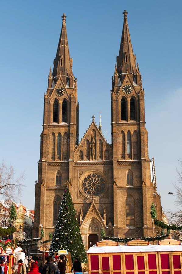 De Markt van Kerstmis in Praag, Tsjechische Republiek stock afbeeldingen