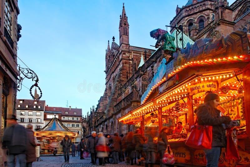 De Markt van Kerstmis in Straatsburg royalty-vrije stock foto's