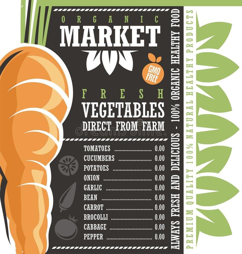 De Markt van landbouwbedrijf Verse Groenten stock illustratie