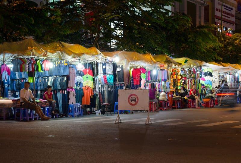 De markt van nachtben thanh, Saigon royalty-vrije stock foto