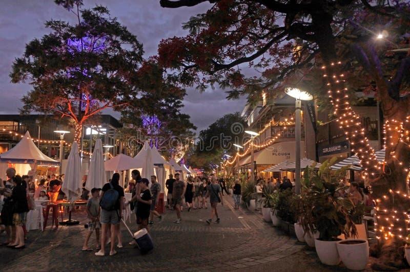 De markt van de Southbanknacht in de stad van Brisbane, Queensland, Australië stock foto's
