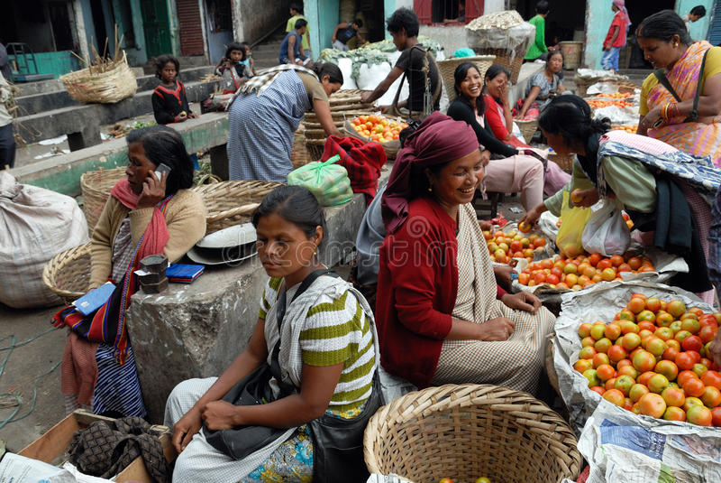 De markt van vrouwen in India royalty-vrije stock afbeelding