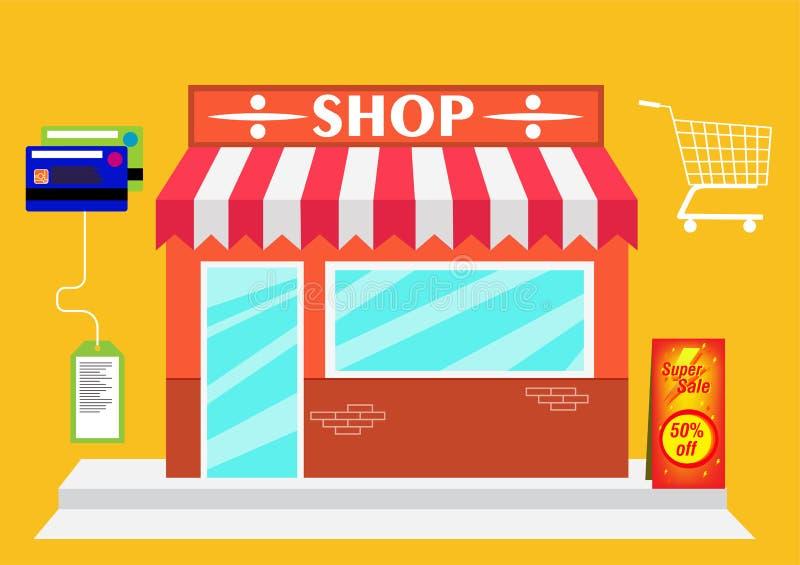 De markt van de Webopslag op Vlakke moderne ontwerpstijl vector illustratie