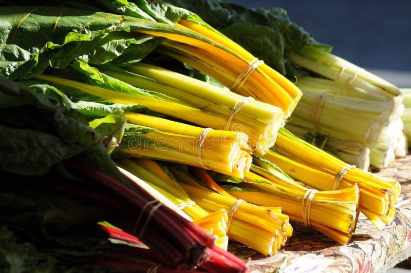 De markt verse greens van de landbouwer stock foto's