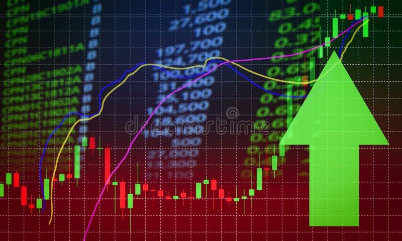 De marktprijs groene pijl van de succesvoorraad op de winstengroei stock illustratie