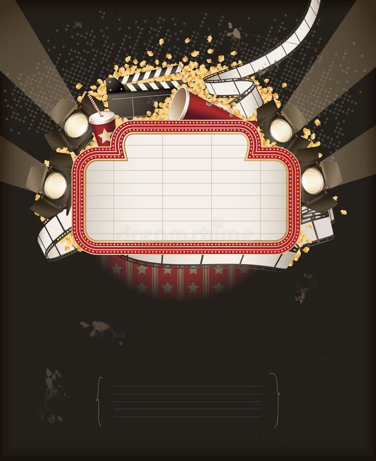 De markttent van het theater met de voorwerpen van het filmthema royalty-vrije illustratie