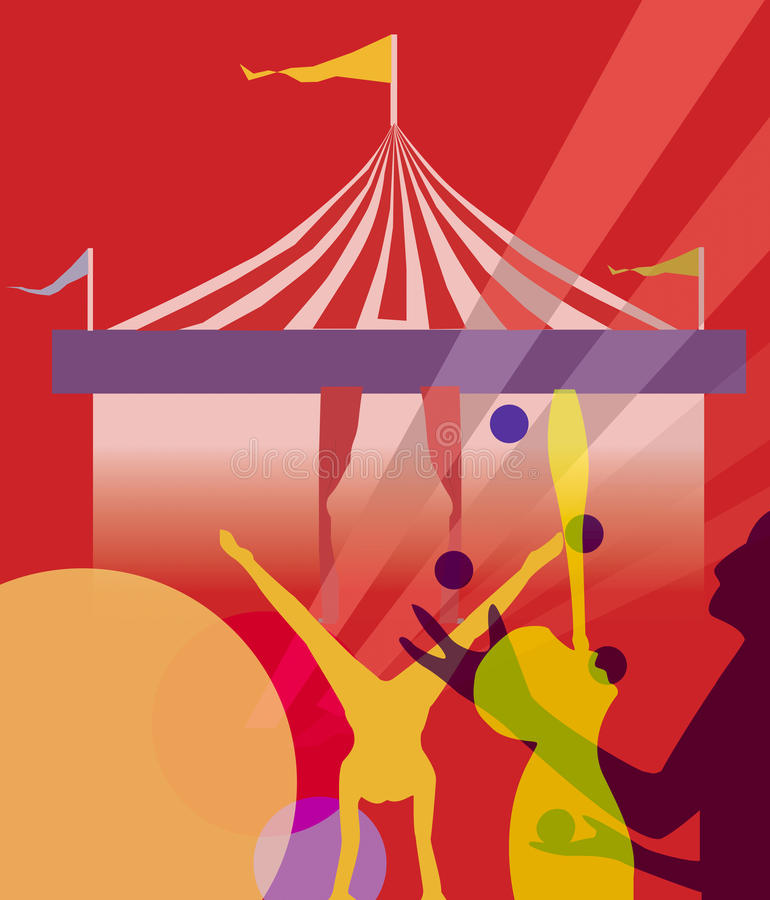 De markttenttent van het circus met het jongleren van met illustratie royalty-vrije illustratie