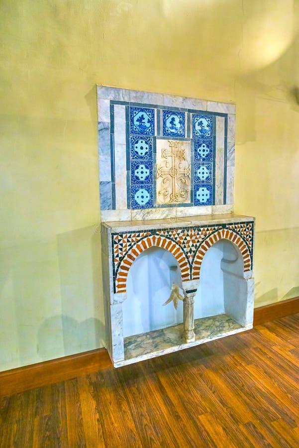 De marmeren decoratieve elementen in Koptisch Museum De stad en rivier Nijl van Kaïro royalty-vrije stock fotografie