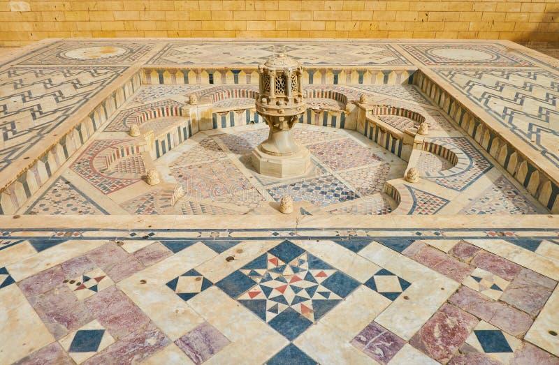 De marmeren fontein in Koptisch Museum in Kaïro, Egypte royalty-vrije stock afbeelding