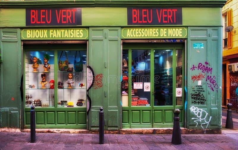 De marseille-Petit heilige-Jean Voorzijde van de Straatwinkel stock afbeeldingen