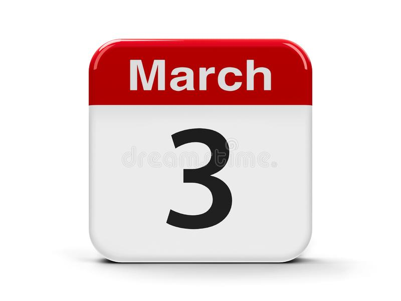 3 de marzo calendario stock de ilustración