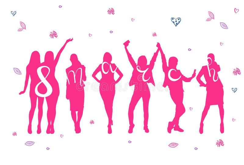 8 de marzo cartel del día de fiesta con concepto para mujer feliz del día de la silueta alegre rosada de las mujeres libre illustration