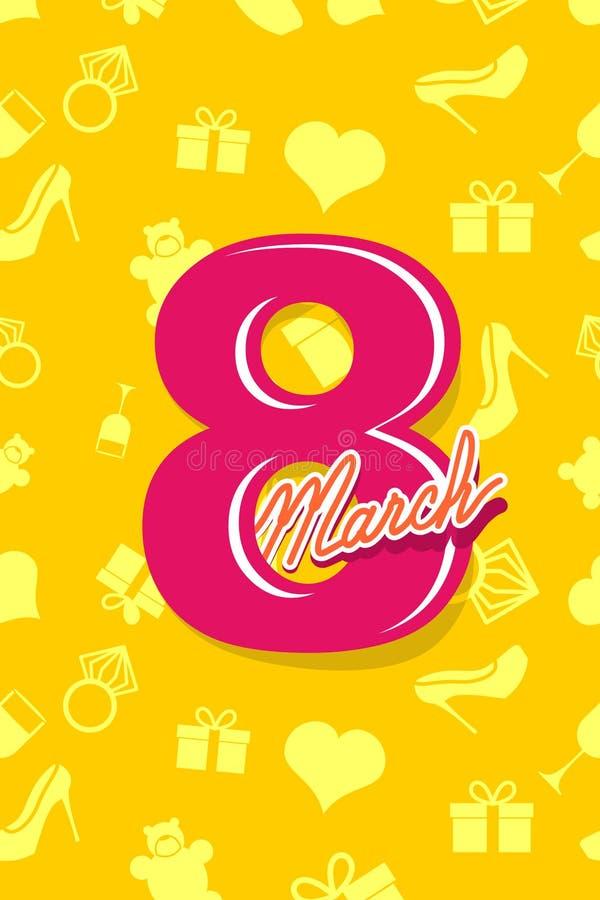 8 de marzo Día de las mujeres internacionales postal 3d stock de ilustración