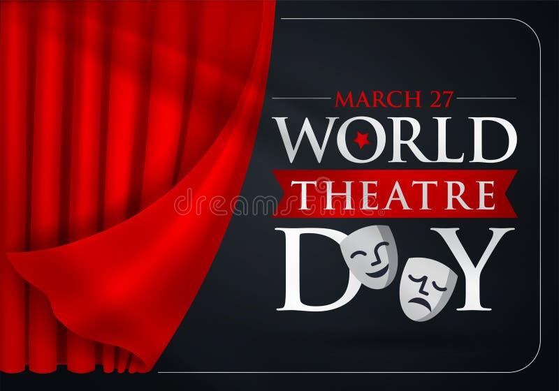 27 de marzo, día del teatro del mundo, tarjeta de felicitación del concepto, con las cortinas y escena con v rojo ilustración del vector