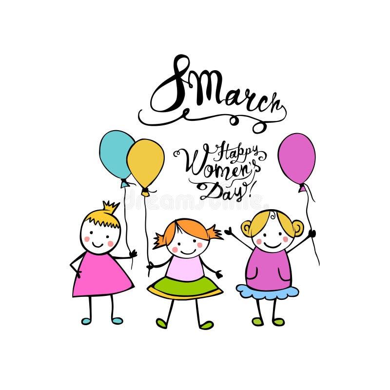 8 de marzo Día feliz de las mujeres libre illustration