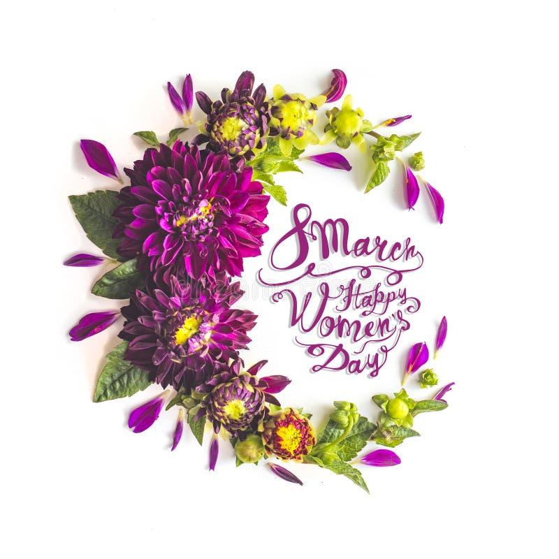 8 de marzo Día feliz de las mujeres Marco de la flor de las flores de las dalias stock de ilustración