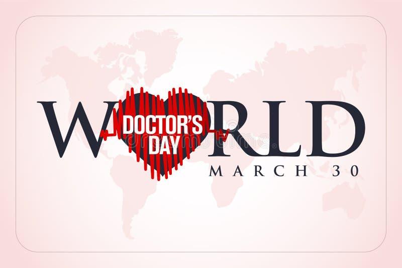30 de marzo, Day del mundo del doctor tarjeta de felicitación del concepto, los doctores nacionales Day Template caloría stock de ilustración
