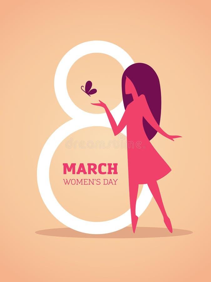 8 de marzo diseño con la silueta de la muchacha ilustración del vector