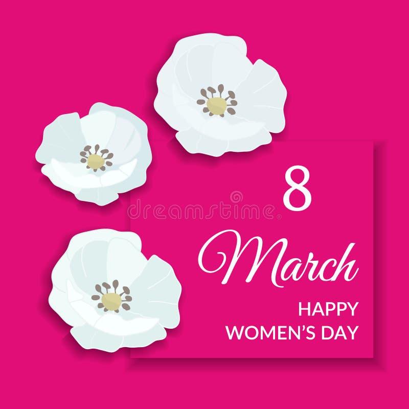 8 de marzo diseño para mujer internacional feliz de la tarjeta de felicitación del día Texto blanco en marco rosado brillante y f stock de ilustración