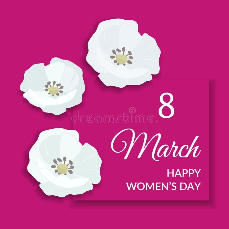 8 de marzo diseño para mujer internacional feliz de la tarjeta de felicitación del día Texto blanco en marco rosado brillante y f ilustración del vector
