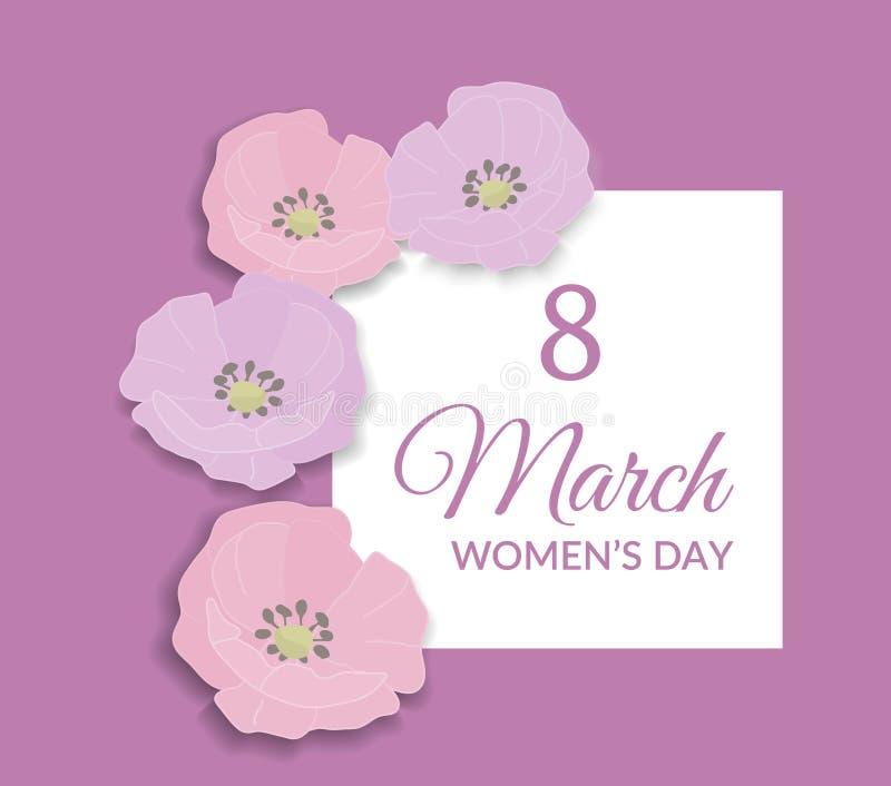 8 de marzo diseño para mujer internacional feliz de la tarjeta de felicitación del día Texto rosado en el fondo blanco del rosa d ilustración del vector