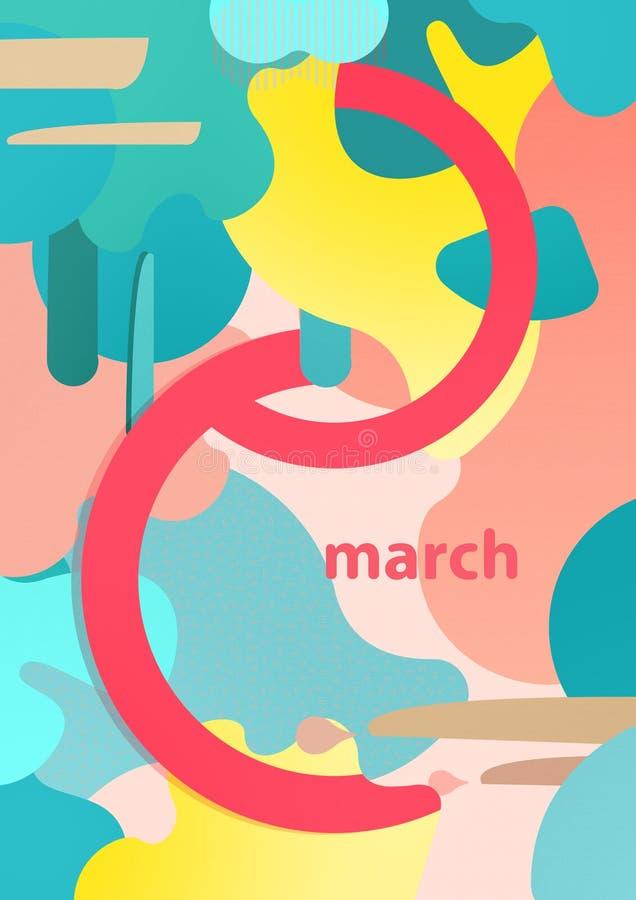 8 de marzo ejemplo para la tarjeta del día de las mujeres internacionales imagenes de archivo