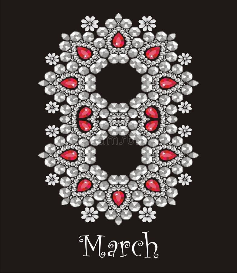 8 de marzo el día de las mujeres internacionales Tarjeta de felicitación hermosa con los diamantes artificiales, modelo del día d ilustración del vector