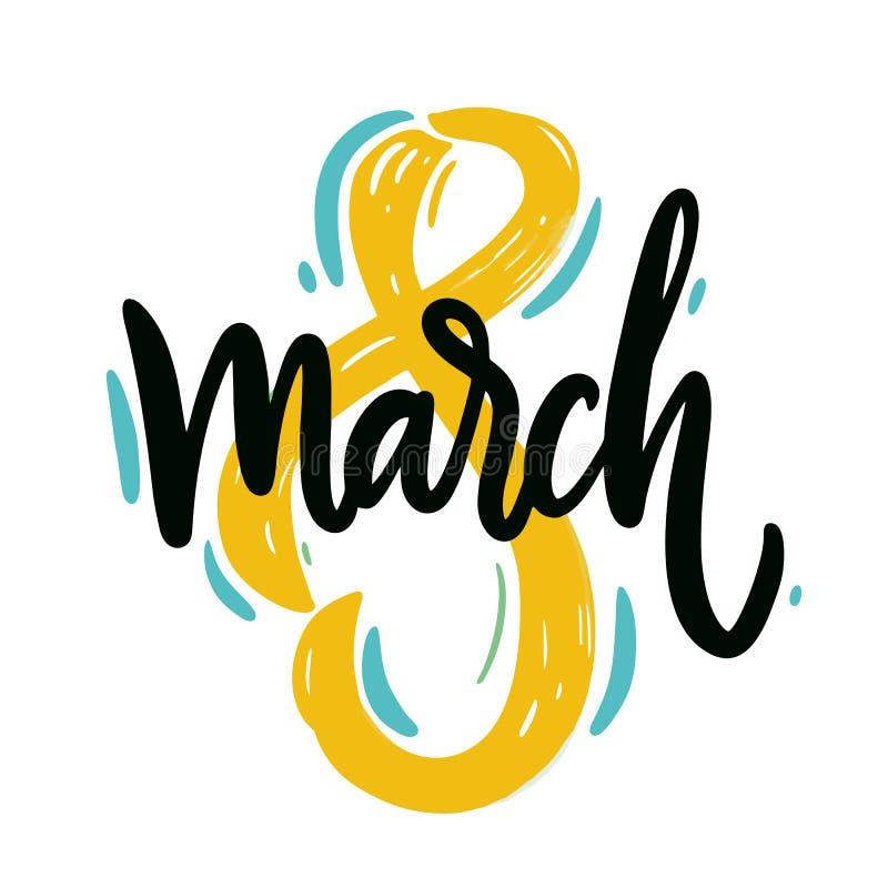 8 de marzo el día de la mujer feliz Letras dibujadas mano del vector libre illustration