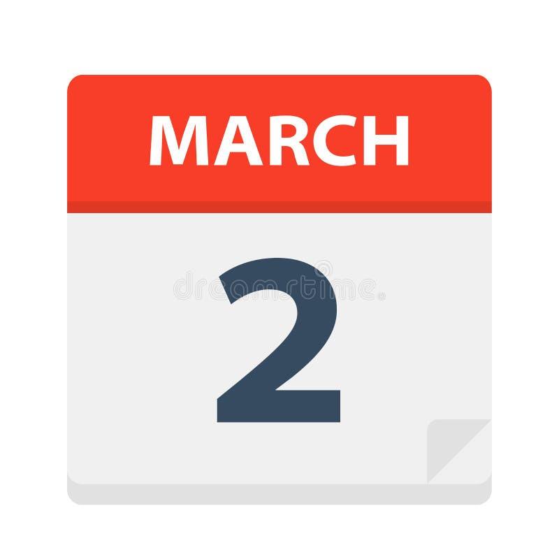 2 de marzo - icono del calendario libre illustration