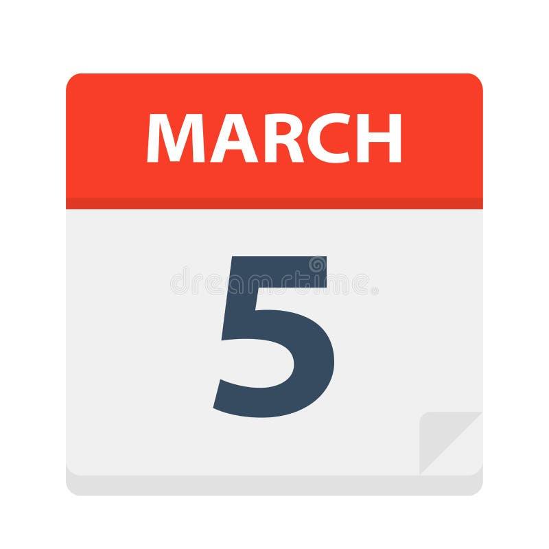 5 de marzo - icono del calendario stock de ilustración