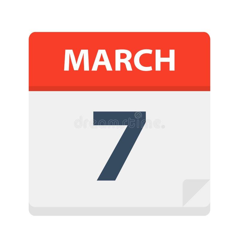 7 de marzo - icono del calendario stock de ilustración