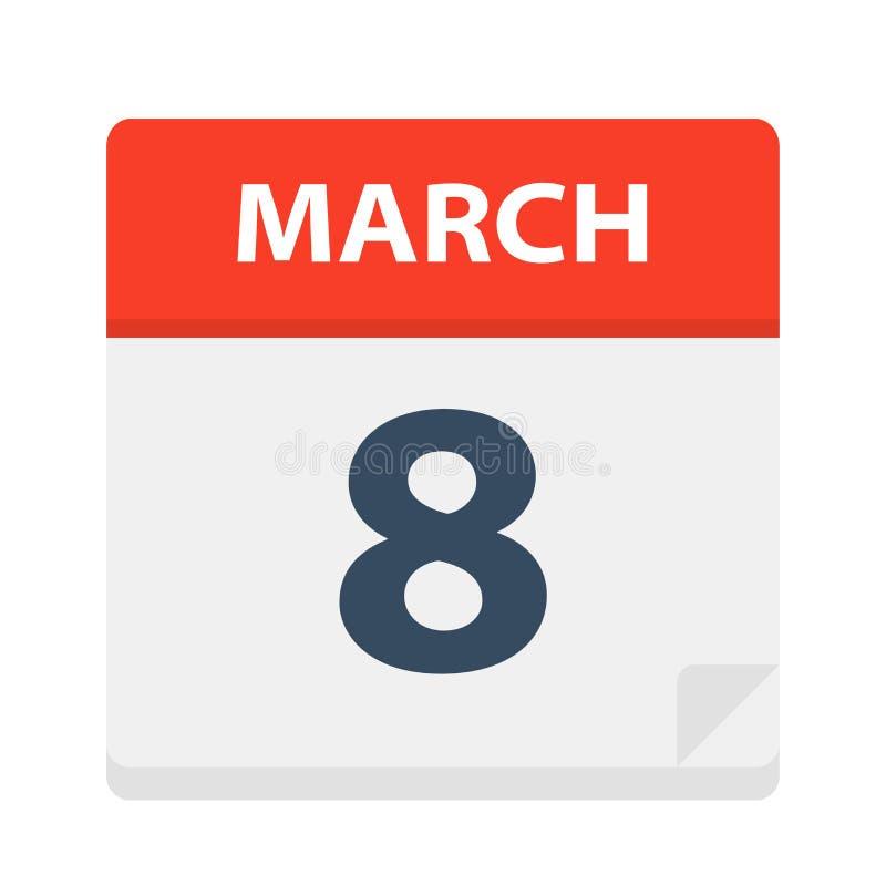 8 de marzo - icono del calendario libre illustration