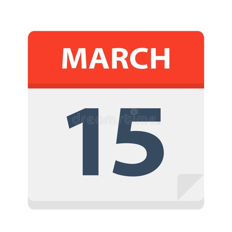 15 de marzo - icono del calendario stock de ilustración