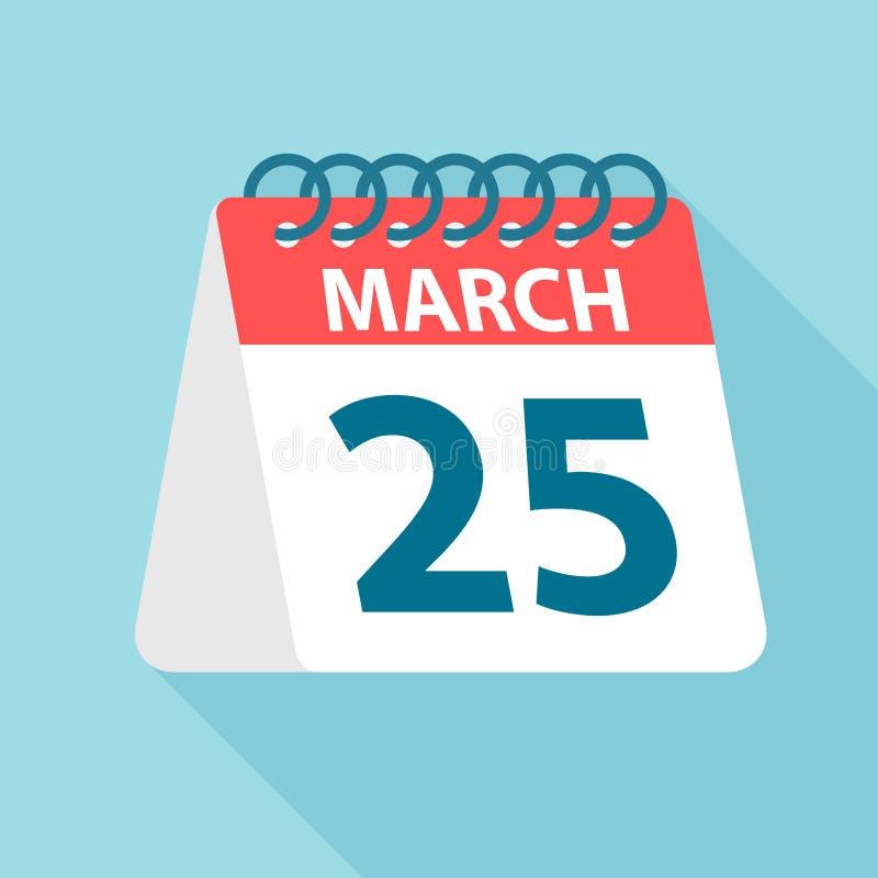 25 de marzo - icono del calendario Ejemplo del vector de un día de mes Plantilla del calendario ilustración del vector