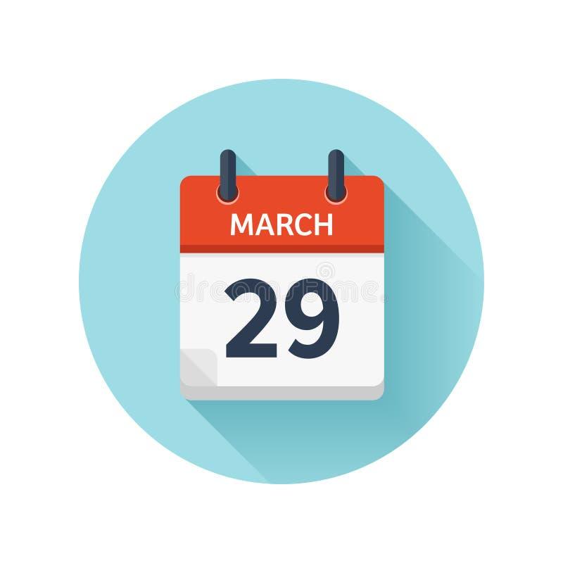 29 de marzo Icono plano del calendario diario del vector Fecha y hora, día, mes 2018 holiday estación ilustración del vector