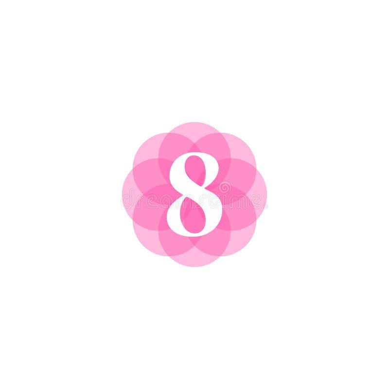 8 de marzo logotipo internacional del día de las mujeres stock de ilustración