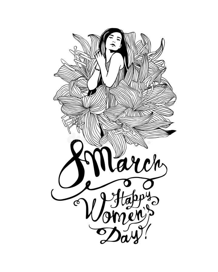 8 de marzo Muchacha en flores del lirio Día feliz de las mujeres stock de ilustración