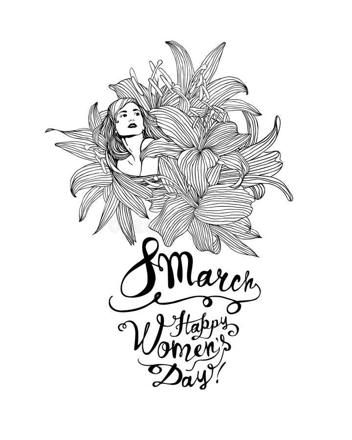 8 de marzo Muchacha en flores del lirio Día feliz de las mujeres ilustración del vector