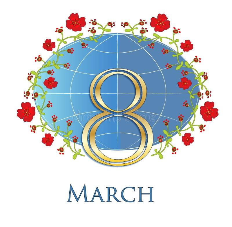 8 de marzo Octavo de marzo Día del mundo de las mujeres stock de ilustración